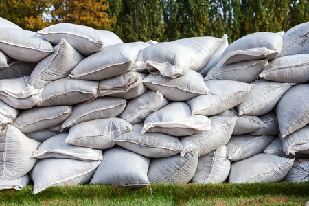 Sandbags for flood defense or military use photo
