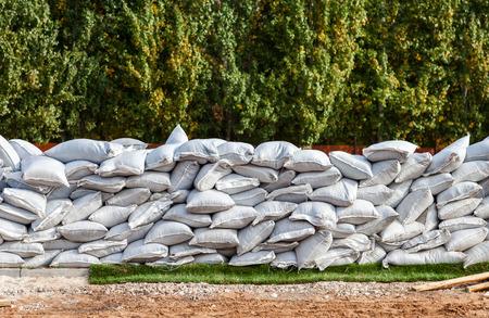 Sandbags for flood defense or military use Stock Photo
