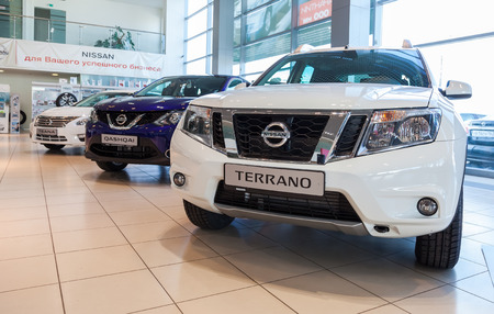 nissan: SAMARA, RUSSIA - NOVEMBER 16, 2014: Inside in the office of official dealer Nissan.  Nissan is a Japanese multinational automaker