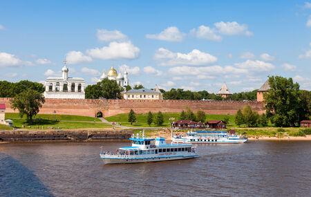 novgorod: NOVGOROD, RUSSIA - JULY 24: River cruise passenger catamaran at the moored on Volkhov river. Novgorod - famous ancient Russian city