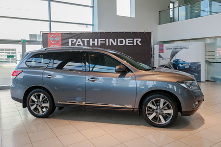 nissan: SAMARA, RUSSIA - NOVEMBER 16, 2014: Inside in the office of official dealer Nissan. Nissan is a Japanese multinational automaker Editorial