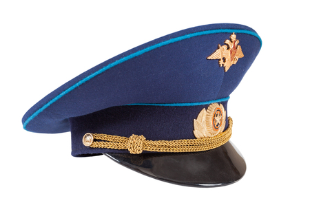 object oppression: SAMARA, RUSSIA - JUNE 9, 2013: Military officer cap of russian air force isolated on white background
