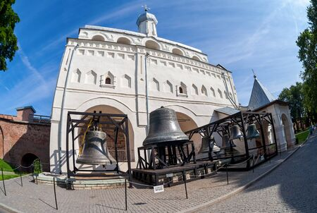 veliky: NOVGOROD, RUSSIA - JULY 23, 2014: Bell tower of St. Sophia Cathedral in Novgorod kremlin. Veliky Novgorod - famous ancient Russian city, was founded in 859