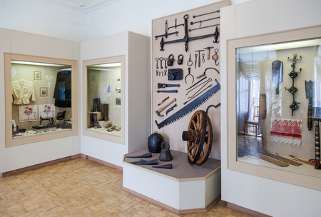 town halls: VALDAI, RUSSIA - AUGUST 17, 2014: The interior of one of the halls of the Museum of the county town Editorial