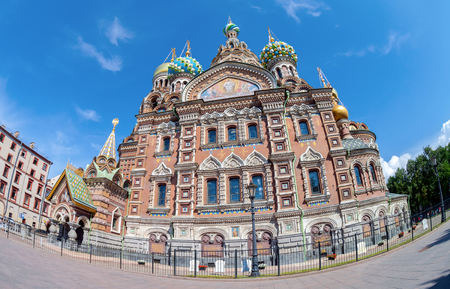 SAINT PETERSBURG, RUSSIA - AUGUST 9, 2014: The Church of the Savior on Spilled Blood is one of the main sights of St.Petersburg, Russia. Church was built in 1883-1907
