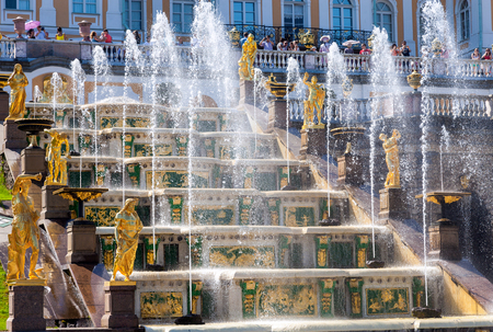 petrodvorets: ST PETERSBURG, RUSSIA - AUGUST 6, 2014: Grand Cascade in Peterhof Palace (Petrodvorets). The Peterhof Palace included in the UNESCOs World Heritage List