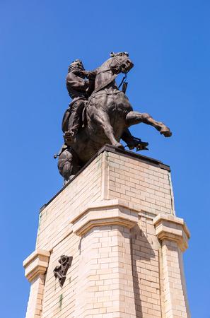 historian: TOGLIATTI, RUSSIA - MAY 18, 2014: Equestrian statue to the founder of Togliatti Vasily Tatishchev. Monument was unveiled on September 2, 1998