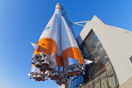 SAMARA, RUSSIA - JANUARY 26, 2013: Real Soyuz type rocket as monument. Rocket height together with building - 68 meters, weight - 20 tons. The monument was unveiled in 2001