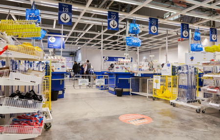 self assembly: SAMARA, RUSSIA - JANUARY 24, 2015: Interior of the IKEA Samara Store. IKEA is the worlds largest furniture retailer, founded in Sweden in 1943