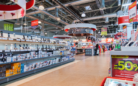 electronic store: SAMARA, RUSSIA - JANUARY 24, 2015: Interior of the electronics shop M-Video. Is the largest Russian consumer electronic retail chain
