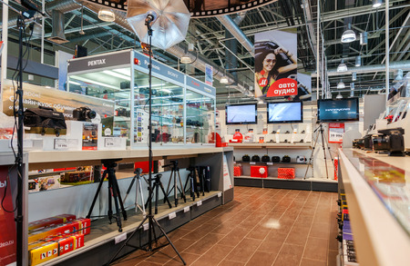 retail chain: SAMARA, RUSSIA - JANUARY 24, 2015: Interior of the electronics shop M-Video. Is the largest Russian consumer electronic retail chain