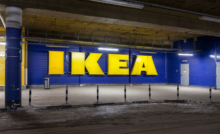 ikea: SAMARA, RUSSIA - JANUARY 24, 2015: Log in hypermarket IKEA from the car parking under the building
