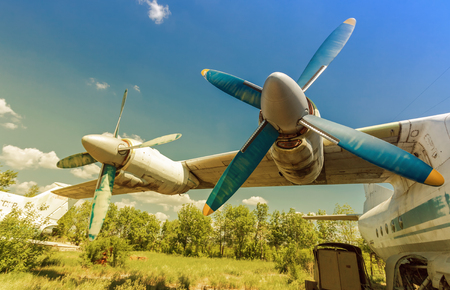 aerodrome: Turbines of turboprop aircraft at an abandoned aerodrome in sunny day