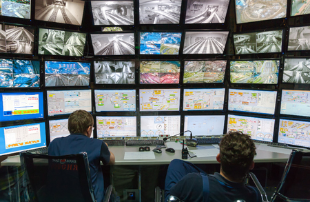 approximation: ST PETERSBURG, RUSSIA - AUGUST 8, 2014: Control room of the attraction Grand Russian layout. Is the largest layouts in Russia and the second largest in the world. Opened in 8 July, 2012