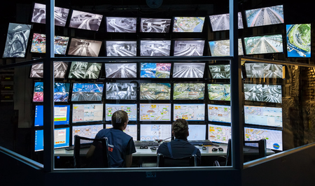 ST PETERSBURG, RUSSIA - AUGUST 8, 2014: Control room of the attraction Grand Russian layout. Is the largest layouts in Russia and the second largest in the world. Opened in 8 July, 2012