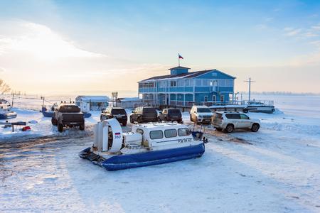 hovercraft: SAMARA, RUSSIA - FEBRUARY 14, 2015: Hovercraft transporter in the Volga embankment in Samara, Russia