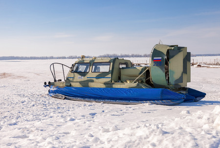 SAMARA, RUSSIA - FEBRUARY 23, 2015: Hovercraft on the ice of the frozen Volga River in Samara