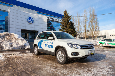 automaker: SAMARA, RUSSIA - MARCH 1, 2015: Official dealer Volkswagen in Samara, Russia. Volkswagen is the biggest German automaker and the third largest automaker in the world
