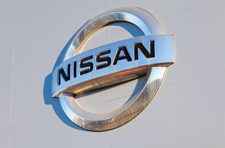 automaker: SAMARA, RUSSIA - NOVEMBER 24, 2014: Nissan dealership sign. Nissan is a Japanese multinational automaker Editorial