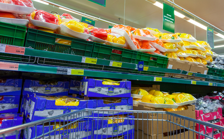 diversified: SAMARA, RUSSIA - FEBRUARY 15, 2015: Fresh vegetables ready for sale in the hypermarket Metro. Metro Group is a German global diversified retailer Editorial