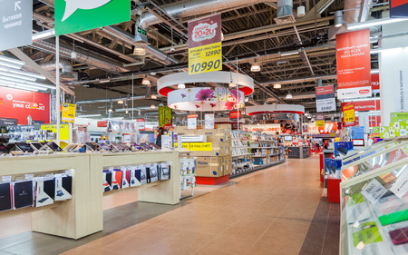 retail chain: SAMARA, RUSSIA - MARCH 14, 2015: Interior of the electronics shop M-Video. Is the largest Russian consumer electronic retail chain