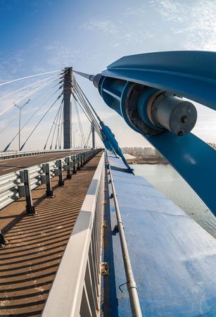 cable bridge: Cable bridge across the Samara river in Kirovsky district of Samara city, Russia