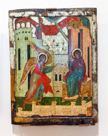 russian orthodox: VELIKY  NOVGOROD, RUSSIA - JULY 24, 2014: Antique Russian orthodox icon painted on wooden board