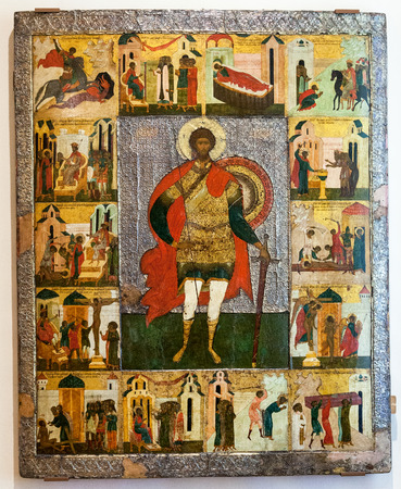 theodore: VELIKY  NOVGOROD, RUSSIA - JULY 24, 2014: Antique Russian orthodox icon of St. Theodore the Stratelates with Scenes from his Life painted on wooden board