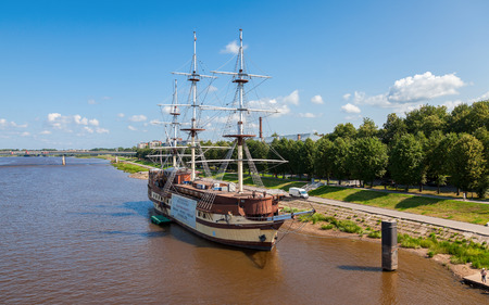 veliky: NOVGOROD, RUSSIA - JULY 24, 2014: Old sailing ship on river Volhov in summer day. Novgorod Veliky is Russian cultural heritage, was founded in 859 Editorial