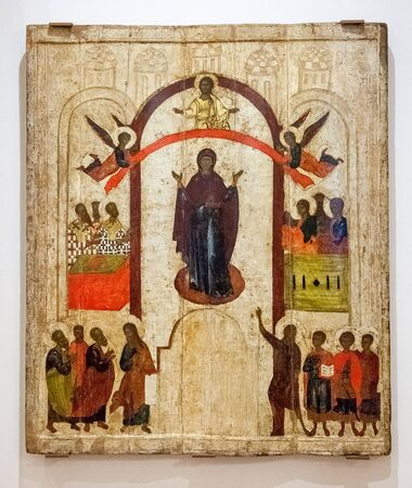 novgorod: VELIKY NOVGOROD, RUSSIA - JULY 24, 2014: Antique Russian orthodox icon. The Protection of the Virgin painted on wooden board. Late 14th century Editorial