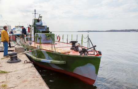 refurbished: SAMARA, RUSSIA - MAY 1, 2015: Refurbished armored boat BKA-73 times of the Great Patriotic War stands at the pier on the Volga River Editorial
