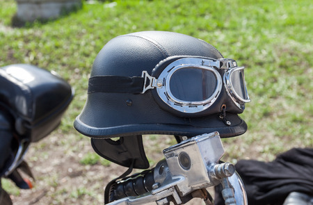 helmet seat: Motorcycle helmet during the traditional annual gathering of bikers