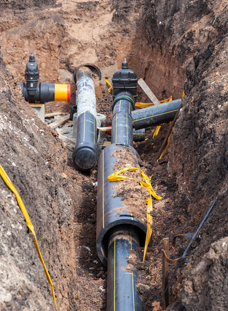 Laying underground pipeline Stock Photo - 40501359