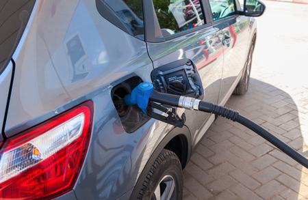 fueled: SAMARA, RUSSIA - MAY 23, 2015: Passenger car fueled with petrol at a petrol station