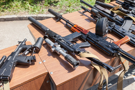 akm: SAMARA, RUSSIA - MAY 30, 2015: Russian weapons. Samples of Russian small arms Editorial
