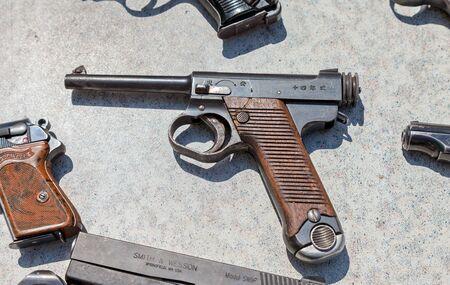 ww2: SAMARA, RUSSIA - MAY 30, 2015: Type 14 Nambu WW2 Imperial Japanese Army 8mm Pistol Editorial