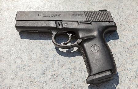 semi automatic: SAMARA, RUSSIA - MAY 30, 2015: Semi automatic handgun Smith & Wesson