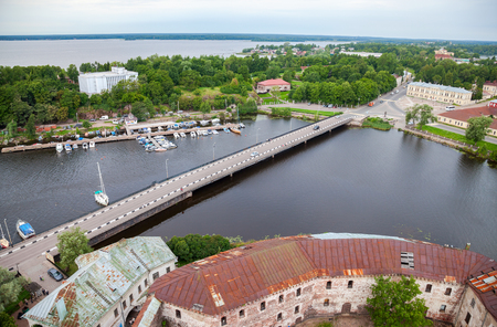 vyborg: Top view on the Old City from the observation deck of the Vyborg Castle in Vyborg, Russia