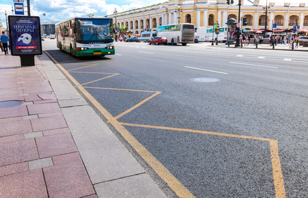 nevsky prospect: ST.PETERSBURG, RUSSIA - AUGUST 5, 2015: Road transport is moving along Nevsky Prospect in the summer sunny day Editorial
