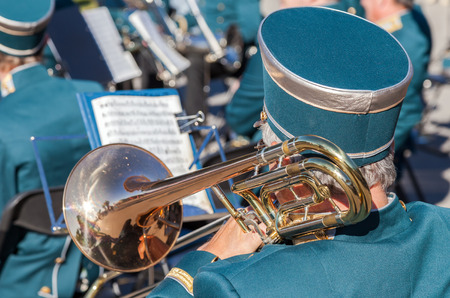 brass  band: SAMARA, RUSSIA - AUGUST 12, 2015: Musician brass band playing the trombone on a sunny day
