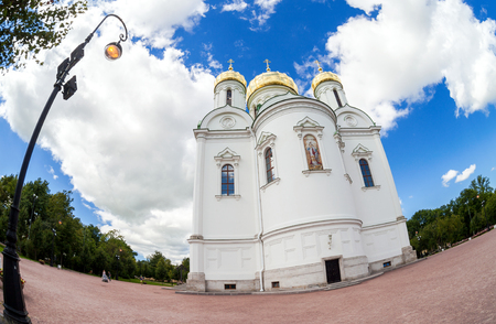 pushkin: ST.PETERSBURG, RUSSIA - AUGUST 4, 2015: Fisheye view on Catherines Cathedral in Pushkin town in summer sunny day Editorial