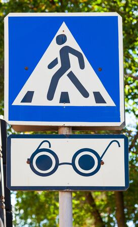 impaired: Traffic sign pedestrian crossing for the visually impaired pedestrians Stock Photo