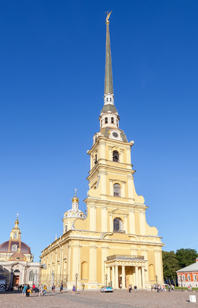 saints peter and paul: SAINT- PETERSBURG, RUSSIA - AUGUST 5, 2015: Cathedral of Saints Peter and Paul in the Peter and Paul Fortress