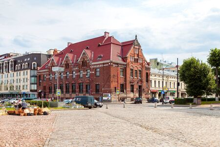 gustaf: VYBORG, LENINGRAD REGION, RUSSIA - AUGUST 6, 2015: Building of Suomen Pankki on the market square. Built in 1910 by design of Carl Gustaf Nystrom, now it houses the municipality Editorial