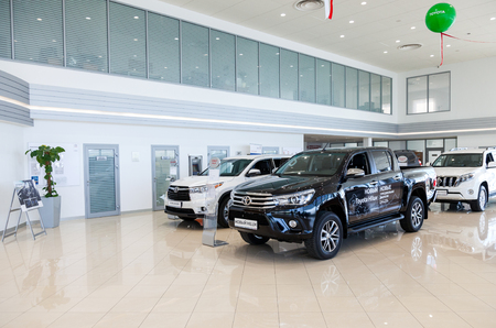 SAMARA, RUSSIA - SEPTEMBER 19, 2015: Inside in the office of official dealer Toyota. Toyota Motor Corporation is a Japanese automotive manufacturer Editorial