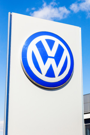 automaker: SAMARA, RUSSIA - MAY 11, 2015: Official dealership sign of Volkswagen. Volkswagen is the biggest German automaker and the third largest automaker in the world