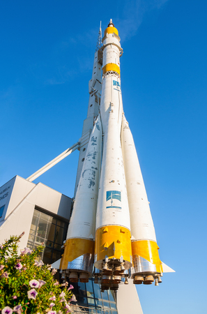 astronautics: SAMARA, RUSSIA - APRIL 10, 2011: Real Soyuz type space rocket as a monument in front of Samara Cosmos Museum