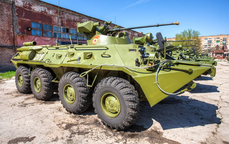 mailed: SAMARA, RUSSIA - MAY 8, 2014: Russian Army BTR-82 wheeled armoured vehicle personnel carrier