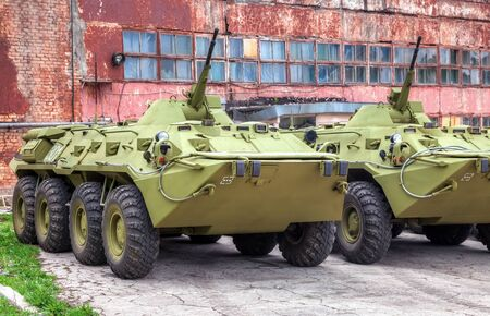 mailed: SAMARA, RUSSIA - MAY 7, 2014: Russian Army BTR-80 wheeled armoured vehicle personnel carrier Editorial