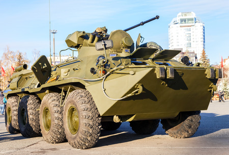 mailed: SAMARA, RUSSIA - NOVEMBER 7, 2015: Russian Army BTR-82 wheeled armoured vehicle personnel carrier Editorial